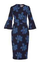 Lela Rose Full Sleeve Fitted Dress Blue