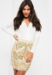 Missguided White All Over Embellished Sequin And Pearl Mini Skirt Cream