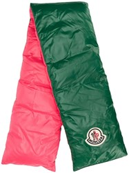 Moncler Puffer Style Logo Patch Scarf Green