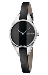 Calvin Klein Achieve Rebel Leather Band Watch 29Mm Black Silver