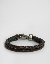 Jack And Jones Jacjack Leather Plait Bracelet In Black Black