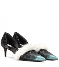 Balenciaga Fur Trimmed Kitten Heel Pumps Black