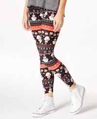 Planet Gold Juniors' Printed Christmas Leggings Black Snowman