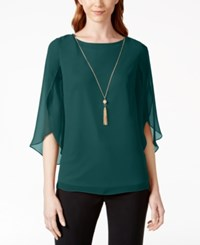 Msk Embellished Flutter Sleeve Top Emerald
