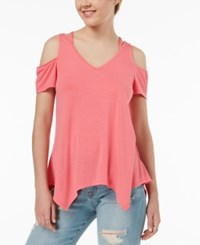 Almost Famous Juniors' Strappy Cold Shoulder Top Pink