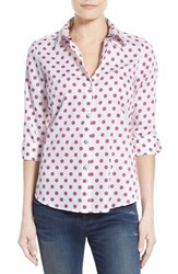 Women's Foxcroft Vintage Dot Print Cotton Shirt Ivory Multi
