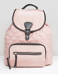 New Look Contrast Quilted Backpack Dark Pink