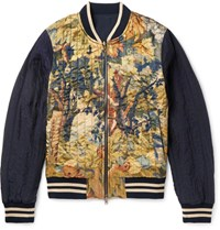 Dries Van Noten Reversible Shell And Printed Satin Bomber Jacket Navy