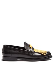 Burberry Contrast Fringed Leather Loafers Black Yellow