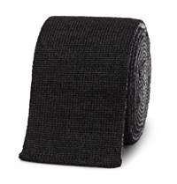 Thom Browne 5Cm Striped Knitted Wool Tie Charcoal