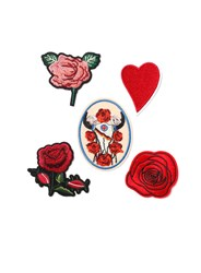Topman Red Rose Iron On Badge Set