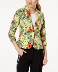 Xoxo Juniors' Ruched Sleeve Blazer Tropical
