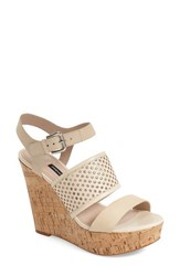 Women's French Connection 'Devi' Platform Wedge Sandal Barley Sugar Leather