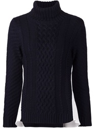 Sea Roll Neck Cable Knit Sweater Blue