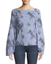 Laundry By Shelli Segal Square Neck Tie Sleeve Blouse Blue