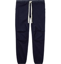 Beams Plus Slim Fit Tapered Grosgrain Trimmed Cotton Blend Twill Drawstring Trousers Blue