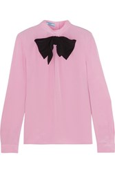Prada Bow Embellished Silk Crepe De Chine Blouse Baby Pink