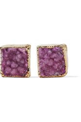 Dara Ettinger Gold Plated Stone Earrings Magenta