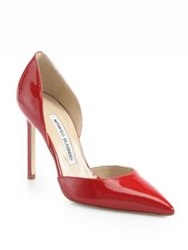 Manolo Blahnik Tayler Patent Leather D'orsay Pumps Red Patent Black Nude