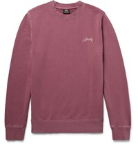 Stussy Embroidered Loopback Cotton Jersey Sweatshirt Plum