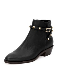 Valentino Rockstud Leather 35Mm Ankle Bootie Nero