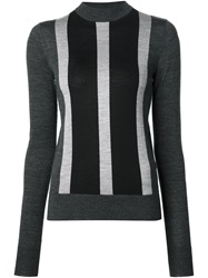 Vera Wang Striped High Neck Sweater Grey