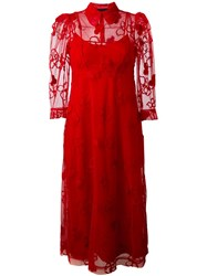 Simone Rocha Floral Embroidery Dress Red