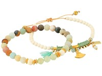 Chan Luu Set Of 2 Pull Tie And Stretchy Semi Precious Stone Bracelets Multi Amazonite Mix Bracelet