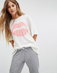 Wildfox Couture Glitter Lips Print Tee Alabaster Multi