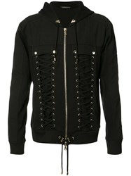 Balmain Lace Up Zipped Hoodie Black
