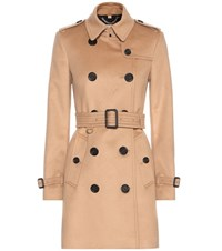 Burberry Kensington Wool Blend Trench Coat Beige
