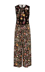 Red Valentino Wide Leg Floral Jumpsuit Black