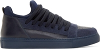 Kris Van Assche Ssense Exclusive Navy Suede And Leather Skate Sneakers