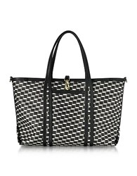 Pierre Hardy Black Polycube Printed Canvas And Leather Tote Bag Black White