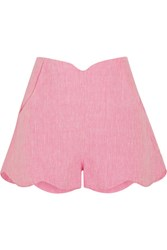 Paper London Fraise Scalloped Linen Shorts Baby Pink