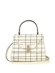 Valextra Iside Mini Embroidered Grained Leather Bag White Black