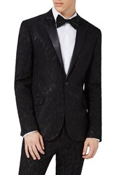 Topman Men's Ultra Skinny Fit Jacquard Leaf Tuxedo Jacket Black