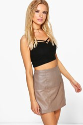Boohoo Faux Leather Mini Skirt Taupe