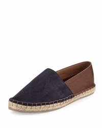 Brunello Cucinelli Men's Suede Leather Two Tone Espadrille Flat Navy Brown