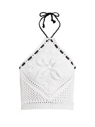 Red Valentino Halterneck Crochet Knit Cotton Cropped Top White