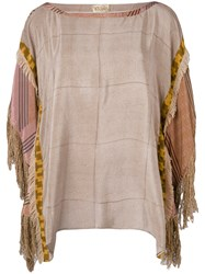 Volantis G.V. Majil Fringe Sleeve T Shirt Women Silk One Size Brown