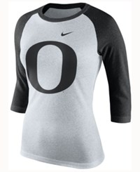 Nike Men's Oregon Ducks Oatmeal Three Quarter Sleeve Raglan T Shirt Natural Charcoal