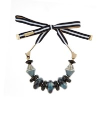 Max Mara Weekend Beaded Ribbon Tie Necklace Female Blue