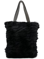 Laura B Mini Shopper Bag Rabbit Fur Black