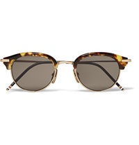 Thom Browne Round Frame Tortoiseshell Acetate And Gold Tone Metal Sunglasses Brown