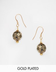 Mirabelle Pyrite Gold Plated Facetted Drop Earrings Gold