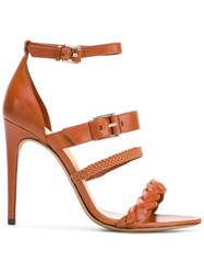 Alexandre Birman Abriell Woven Strap Sandals Brown