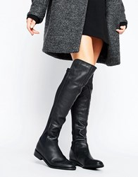 Oasis Leather Over The Knee Boots Black