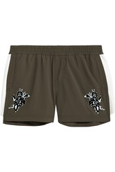 The Upside Cappella Appliqued Shell Shorts Army Green