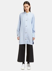 J.W.Anderson Striped Silk Shirt Dress Blue